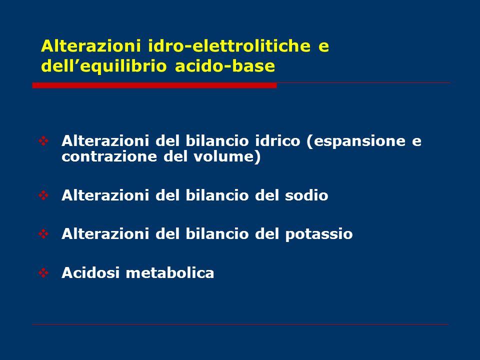 Alterazioni idro-elettrolitiche e dellequilibrio acido-base Alterazioni del bilancio idrico (espansione e contrazione del volume) Alterazioni del bila