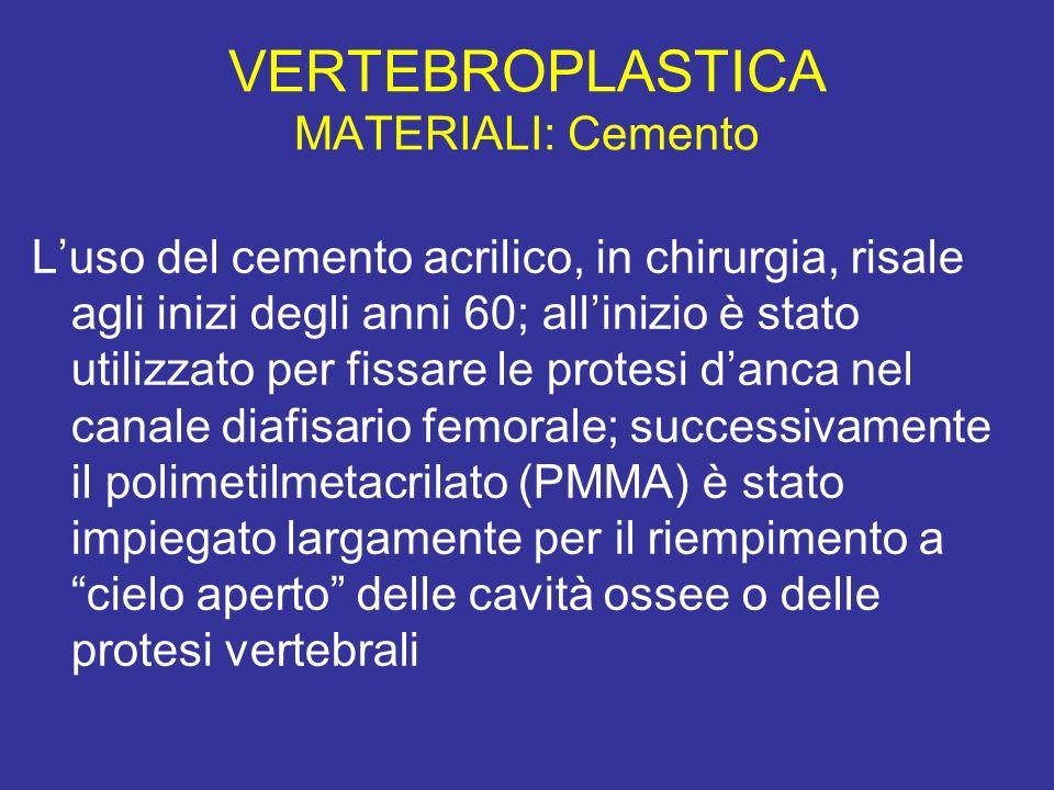 VERTEBROPLASTICA MATERIALI: Cemento Luso del cemento acrilico, in chirurgia, risale agli inizi degli anni 60; allinizio è stato utilizzato per fissare