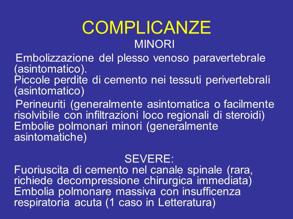 COMPLICANZE MINORI Embolizzazione del plesso venoso paravertebrale (asintomatico). Piccole perdite di cemento nei tessuti perivertebrali (asintomatico