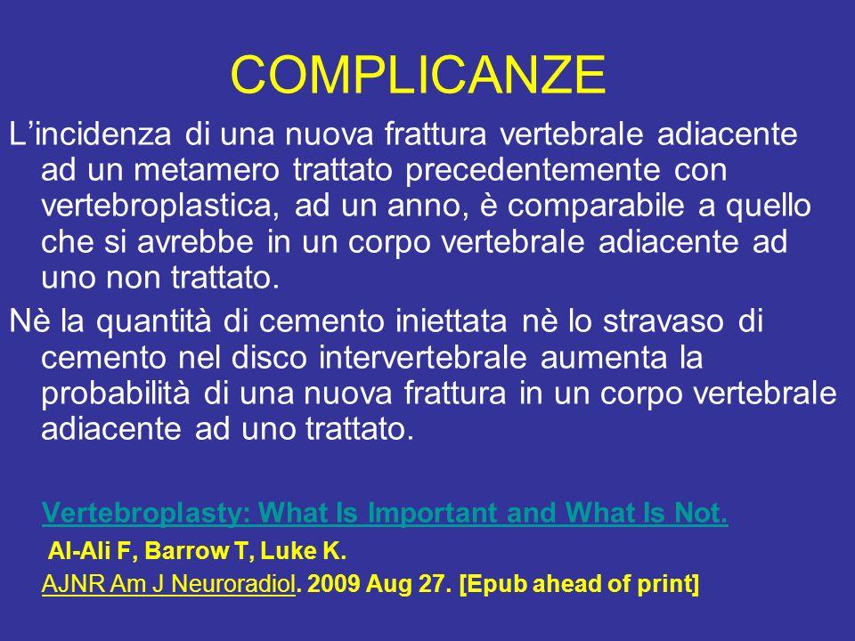 COMPLICANZE Lincidenza di una nuova frattura vertebrale adiacente ad un metamero trattato precedentemente con vertebroplastica, ad un anno, è comparab