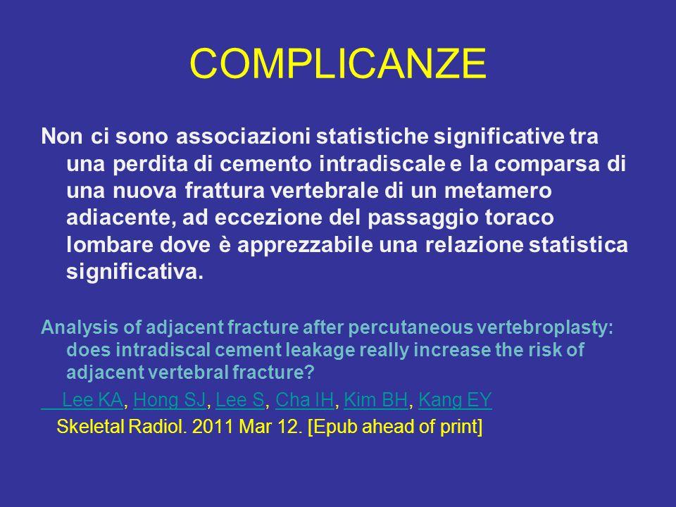 COMPLICANZE Non ci sono associazioni statistiche significative tra una perdita di cemento intradiscale e la comparsa di una nuova frattura vertebrale