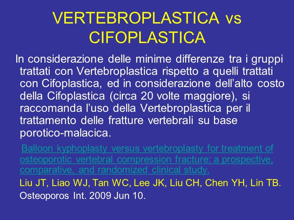 VERTEBROPLASTICA vs CIFOPLASTICA In considerazione delle minime differenze tra i gruppi trattati con Vertebroplastica rispetto a quelli trattati con C