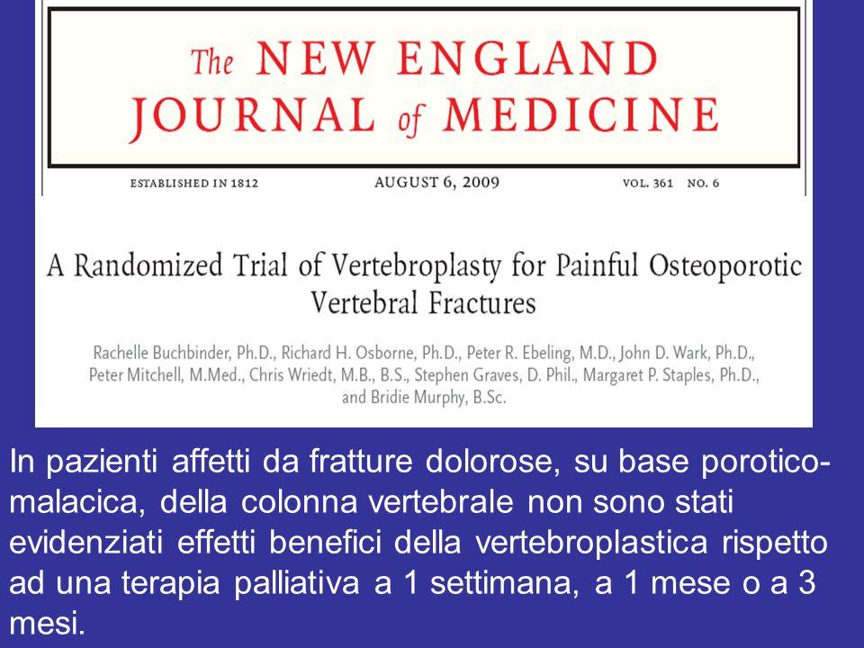 In pazienti affetti da fratture dolorose, su base porotico- malacica, della colonna vertebrale non sono stati evidenziati effetti benefici della verte