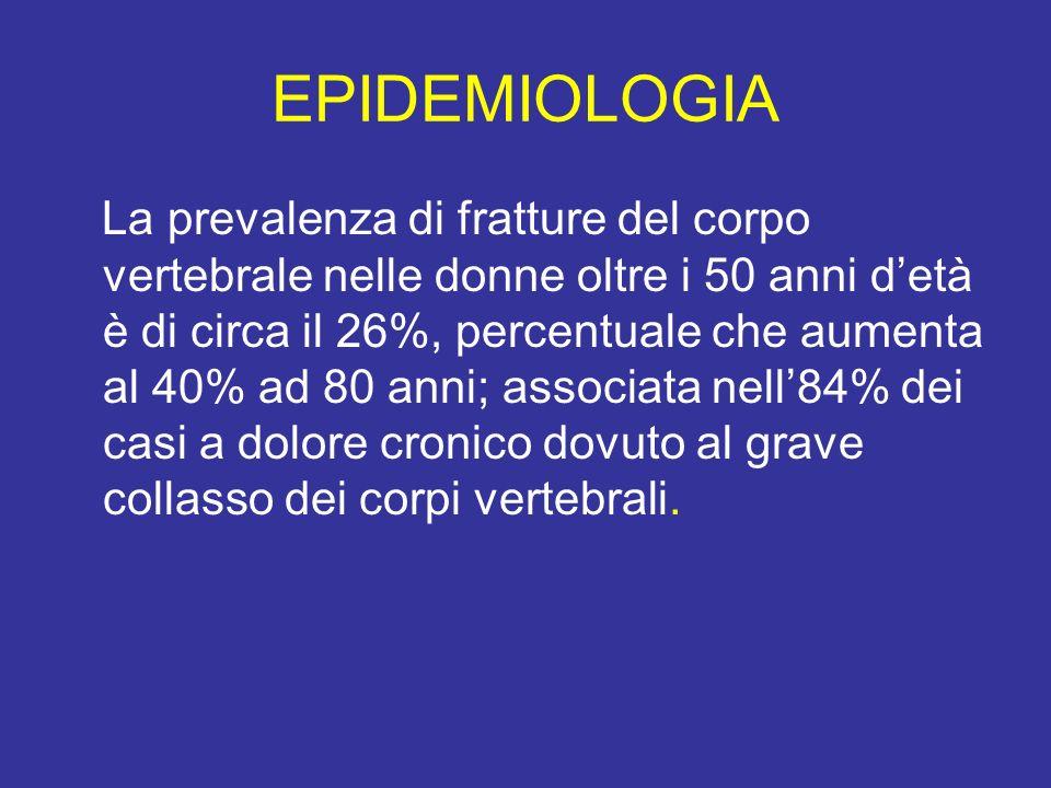 EPIDEMIOLOGIA La prevalenza di fratture del corpo vertebrale nelle donne oltre i 50 anni detà è di circa il 26%, percentuale che aumenta al 40% ad 80