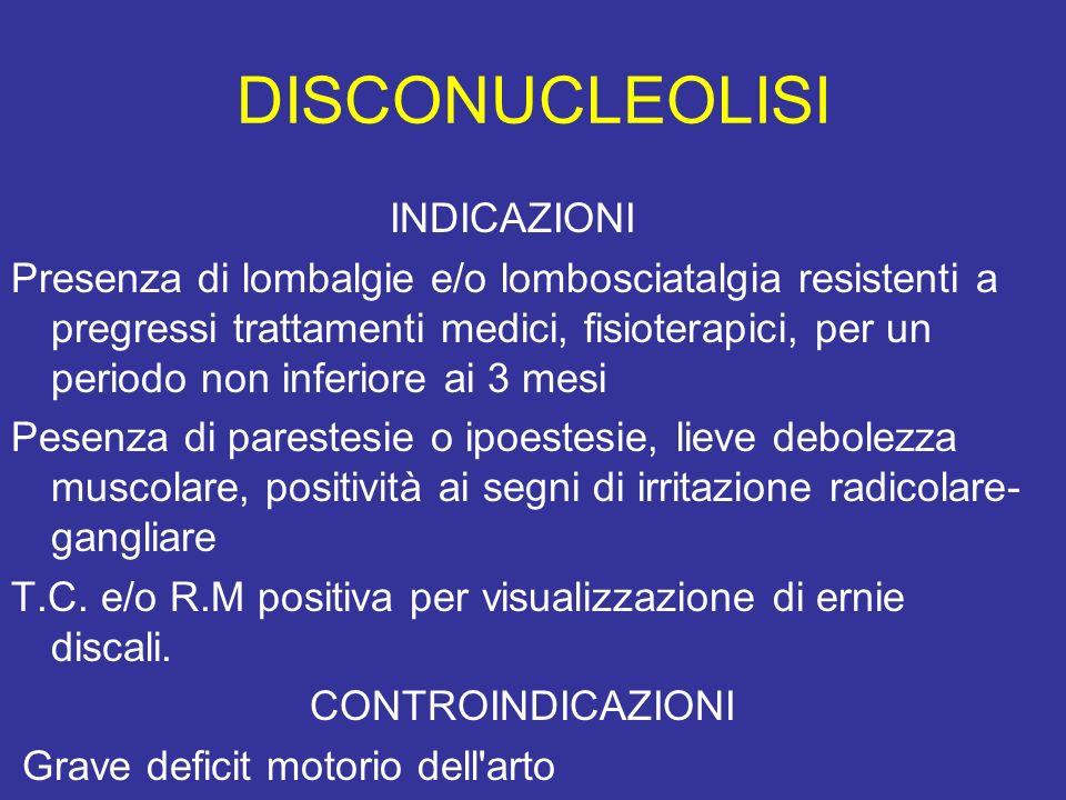 DISCONUCLEOLISI INDICAZIONI Presenza di lombalgie e/o lombosciatalgia resistenti a pregressi trattamenti medici, fisioterapici, per un periodo non inf