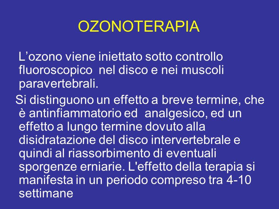 OZONOTERAPIA Lozono viene iniettato sotto controllo fluoroscopico nel disco e nei muscoli paravertebrali. Si distinguono un effetto a breve termine, c