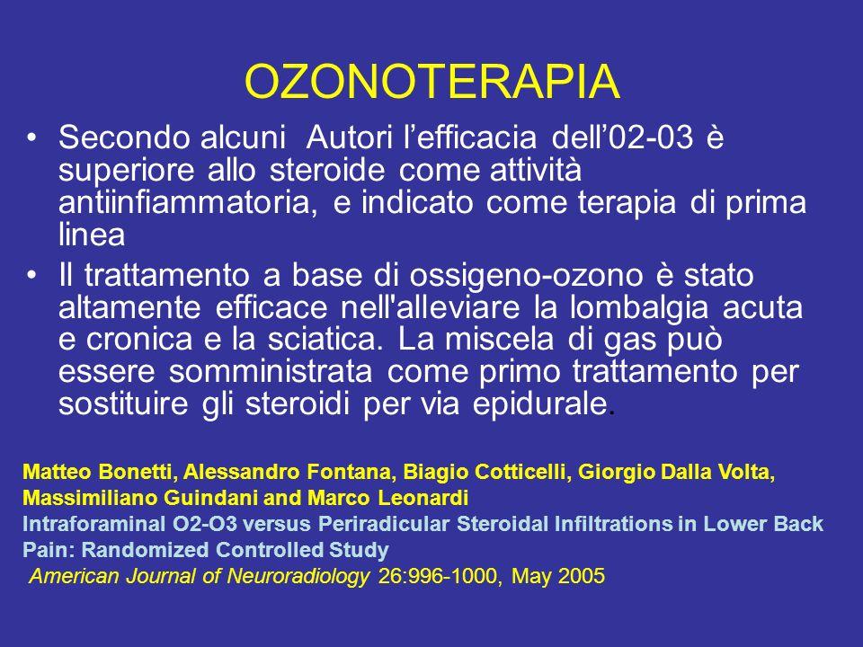 OZONOTERAPIA Secondo alcuni Autori lefficacia dell02-03 è superiore allo steroide come attività antiinfiammatoria, e indicato come terapia di prima li