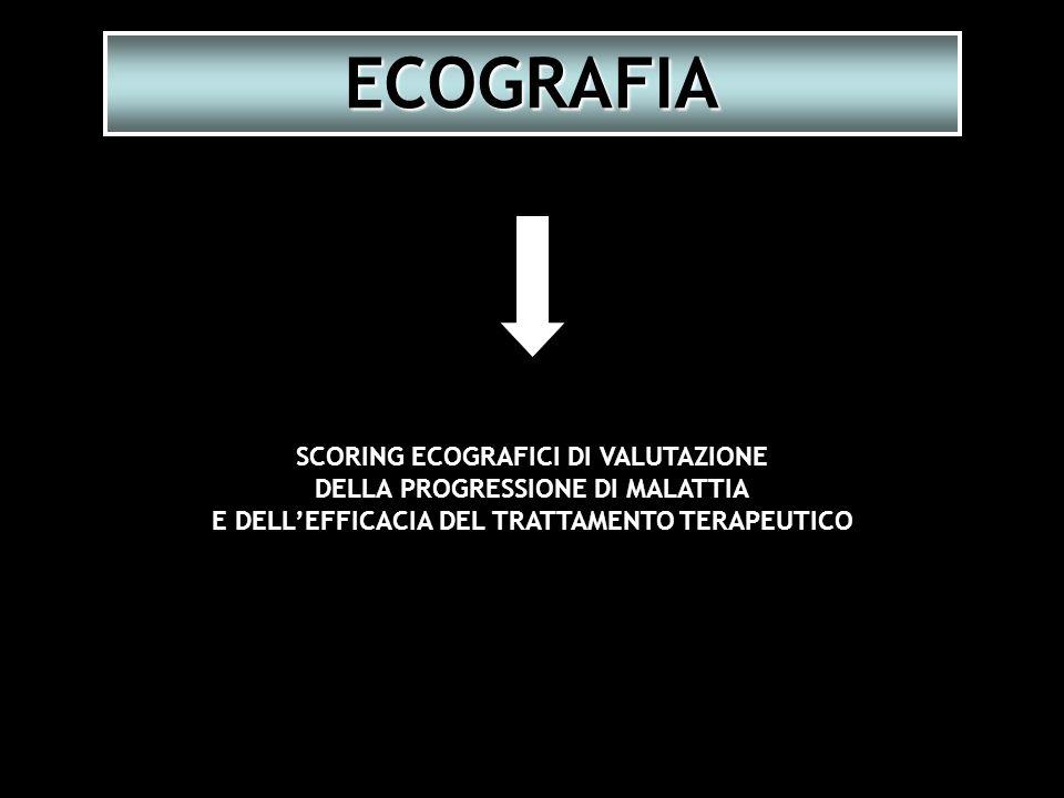 SCORING ECOGRAFICI DI VALUTAZIONE DELLA PROGRESSIONE DI MALATTIA E DELLEFFICACIA DEL TRATTAMENTO TERAPEUTICO ECOGRAFIA