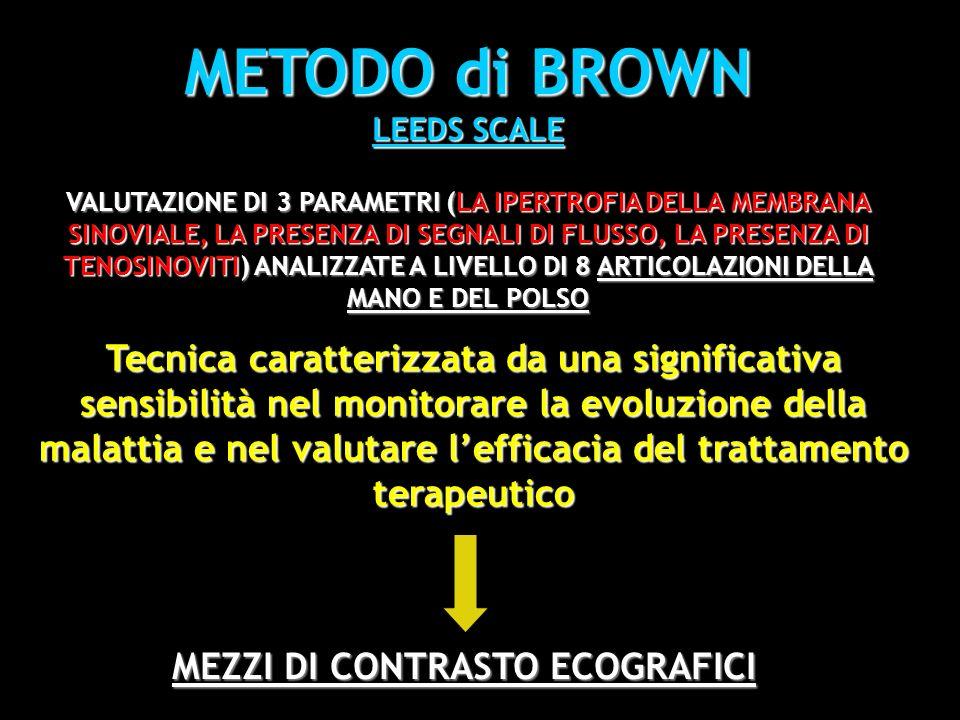 METODO di BROWN LEEDS SCALE VALUTAZIONE DI 3 PARAMETRI (LA IPERTROFIA DELLA MEMBRANA SINOVIALE, LA PRESENZA DI SEGNALI DI FLUSSO, LA PRESENZA DI TENOS