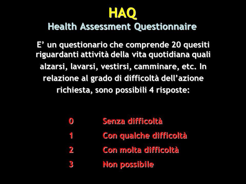 HAQ Health Assessment Questionnaire E un questionario che comprende 20 quesiti riguardanti attività della vita quotidiana quali alzarsi, lavarsi, vest
