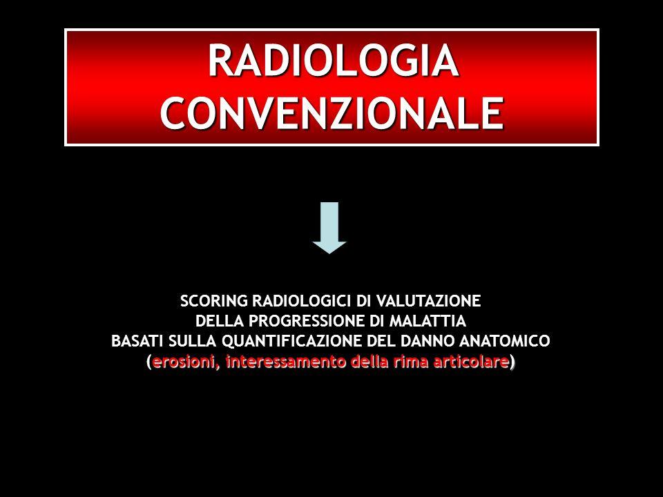 RADIOLOGIA CONVENZIONALE SCORING RADIOLOGICI DI VALUTAZIONE DELLA PROGRESSIONE DI MALATTIA BASATI SULLA QUANTIFICAZIONE DEL DANNO ANATOMICO erosioni,