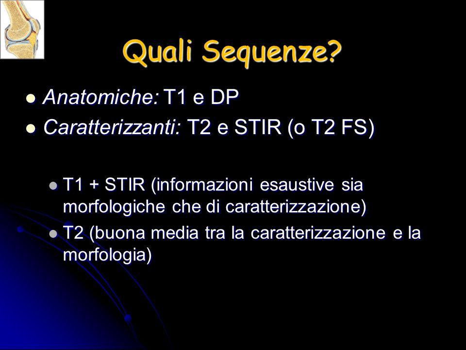 Quali Sequenze? Anatomiche: T1 e DP Anatomiche: T1 e DP Caratterizzanti: T2 e STIR (o T2 FS) Caratterizzanti: T2 e STIR (o T2 FS) T1 + STIR (informazi