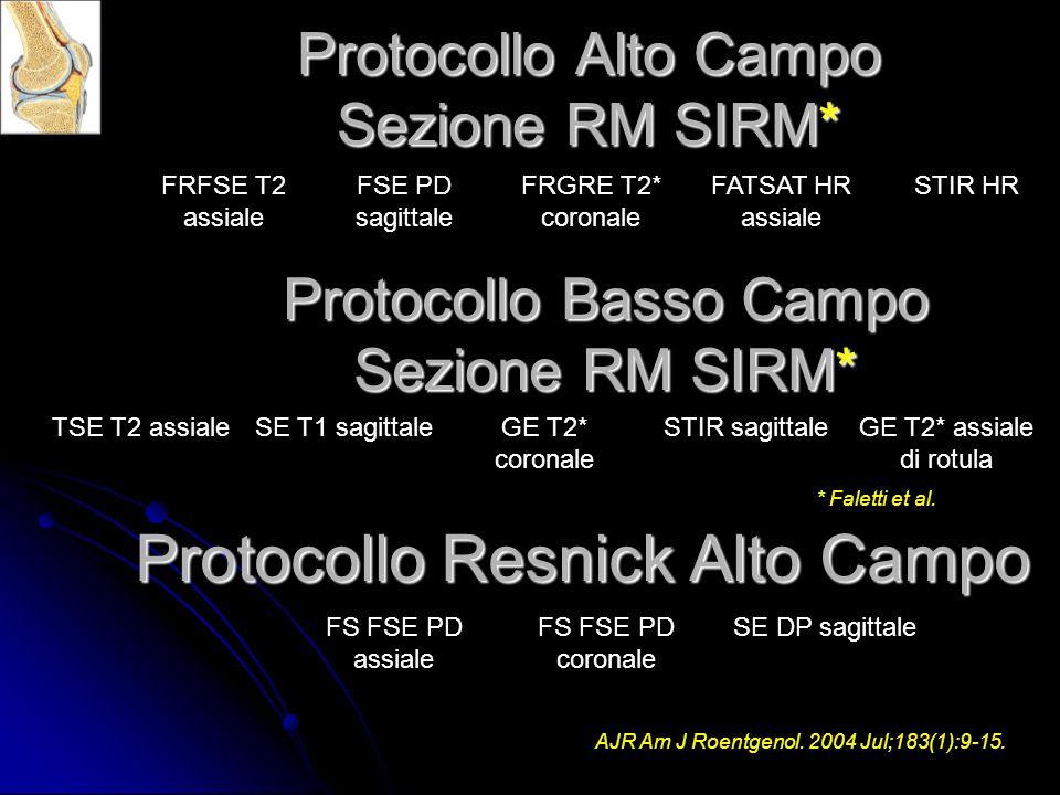 Protocollo Alto Campo Sezione RM SIRM* FRFSE T2 assiale FSE PD sagittale FRGRE T2* coronale FATSAT HR assiale STIR HR TSE T2 assialeSE T1 sagittaleGE