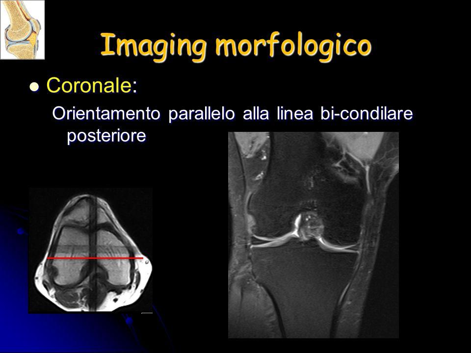 Imaging morfologico Coronale: Coronale: Orientamento parallelo alla linea bi-condilare posteriore