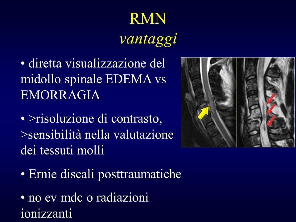 RMN vantaggi diretta visualizzazione del midollo spinale EDEMA vs EMORRAGIA >risoluzione di contrasto, >sensibilità nella valutazione dei tessuti moll