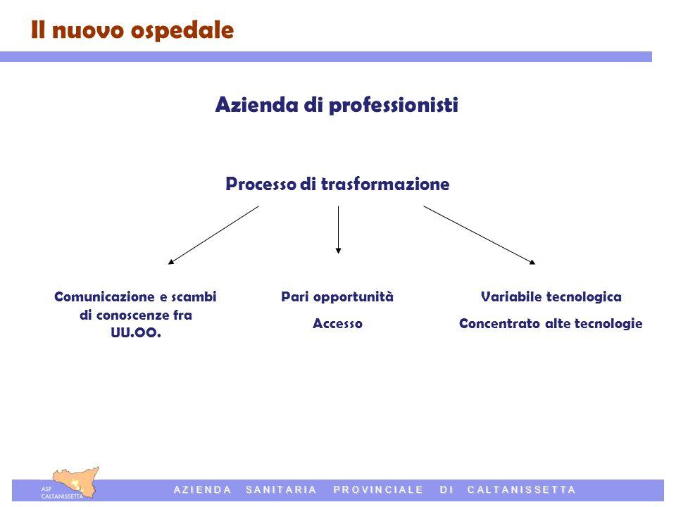 Azienda Sanitaria Provinciale di Caltanissetta A Z I E N D A S A N I T A R I A P R O V I N C I A L E D I C A L T A N I S S E T T A Azienda di professionisti Processo di trasformazione Comunicazione e scambi di conoscenze fra UU.OO.