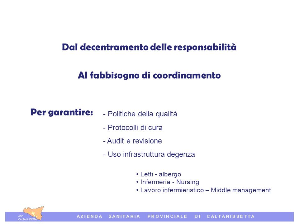Azienda Sanitaria Provinciale di Caltanissetta A Z I E N D A S A N I T A R I A P R O V I N C I A L E D I C A L T A N I S S E T T A Dal decentramento delle responsabilità Al fabbisogno di coordinamento Per garantire: - Politiche della qualità - Protocolli di cura - Audit e revisione - Uso infrastruttura degenza Letti - albergo Infermeria - Nursing Lavoro infermieristico – Middle management