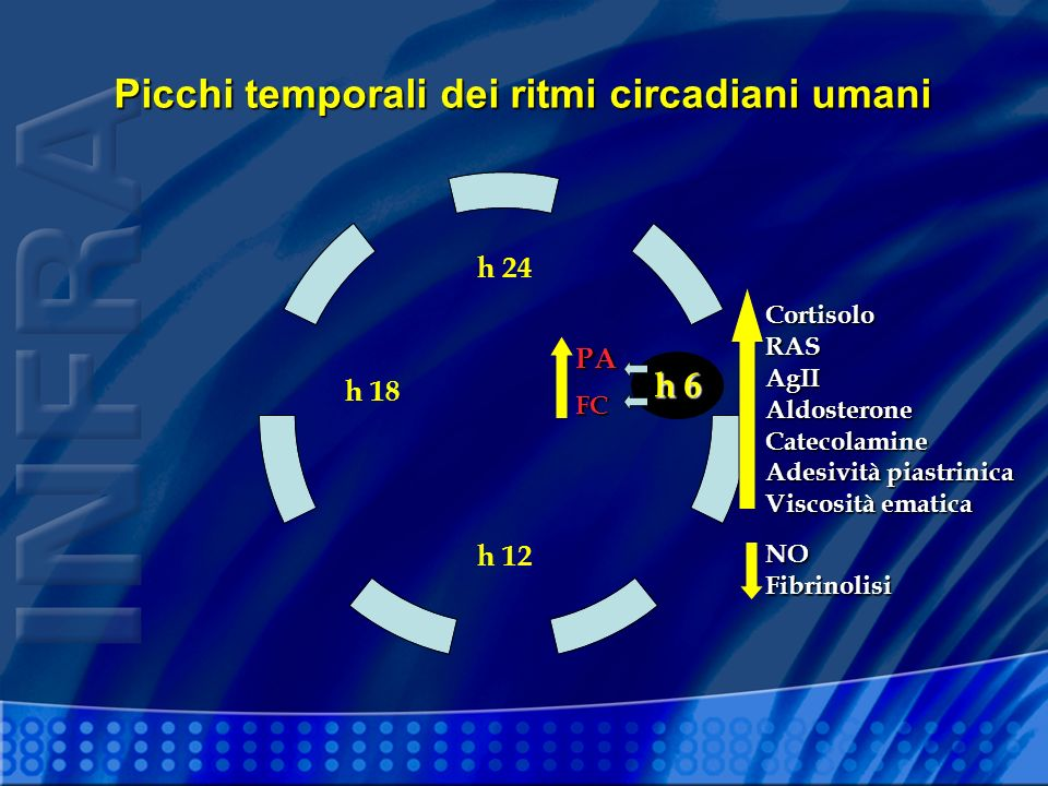CortisoloRASAgIIAldosteroneCatecolamine Adesività piastrinica Viscosità ematica h 24 h 12 h 18 Picchi temporali dei ritmi circadiani umani h 6 PA FC NOFibrinolisi