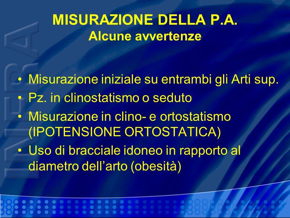 MISURAZIONE DELLA P.A.Alcune avvertenze Misurazione iniziale su entrambi gli Arti sup.
