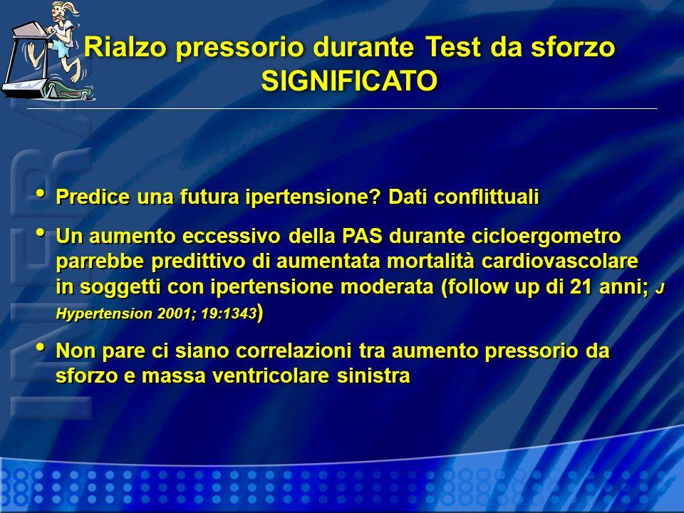 Rialzo pressorio durante Test da sforzo SIGNIFICATO Rialzo pressorio durante Test da sforzo SIGNIFICATO Predice una futura ipertensione.