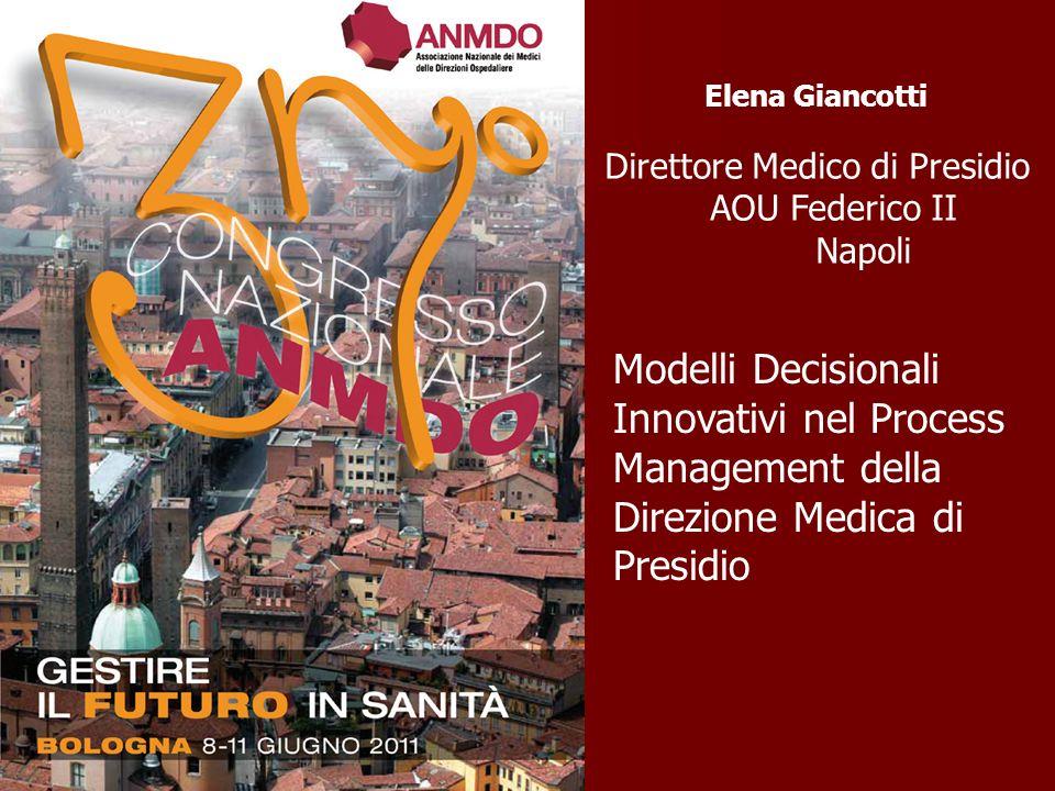 Elena Giancotti Direttore Medico di Presidio AOU Federico II Napoli Modelli Decisionali Innovativi nel Process Management della Direzione Medica di Pr