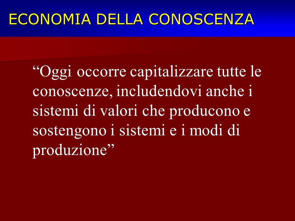 ECONOMIA DELLA CONOSCENZA ECONOMIA DELLA CONOSCENZA Oggi occorre capitalizzare tutte le conoscenze, includendovi anche i sistemi di valori che produco