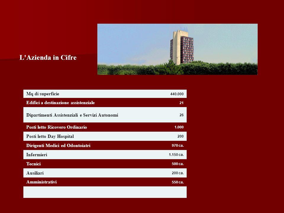 L'Azienda in Cifre Mq di superficie 440.000 Edifici a destinazione assistenziale 21 Dipartimenti Assistenziali e Servizi Autonomi 26 Posti letto Ricov