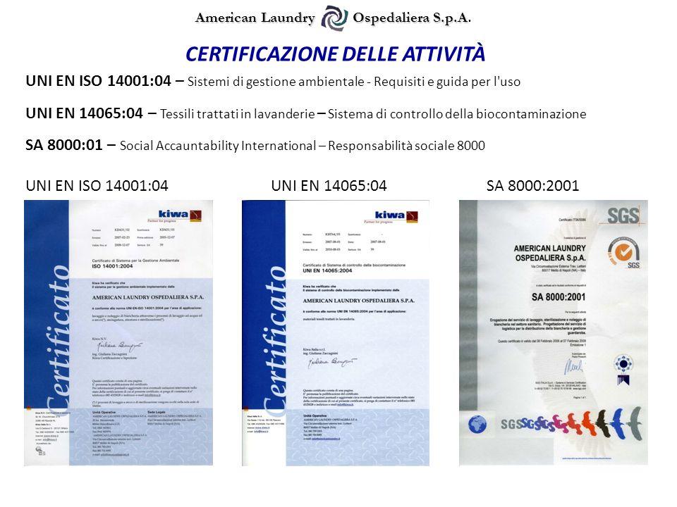 UNI EN ISO 14001:04 – Sistemi di gestione ambientale - Requisiti e guida per l'uso CERTIFICAZIONE DELLE ATTIVITÀ UNI EN ISO 14001:04UNI EN 14065:04SA