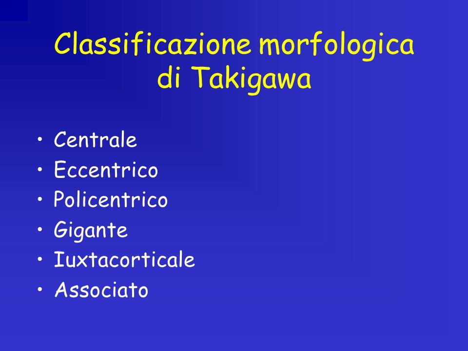 Classificazione morfologica di Takigawa Centrale Eccentrico Policentrico Gigante Iuxtacorticale Associato