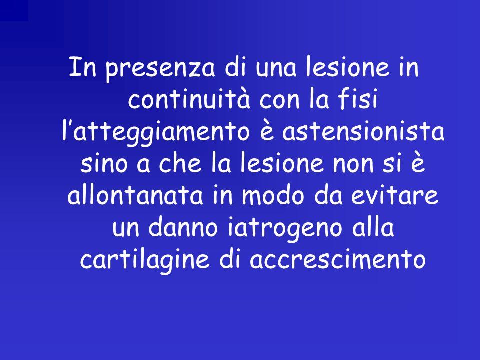In presenza di una lesione in continuità con la fisi latteggiamento è astensionista sino a che la lesione non si è allontanata in modo da evitare un danno iatrogeno alla cartilagine di accrescimento