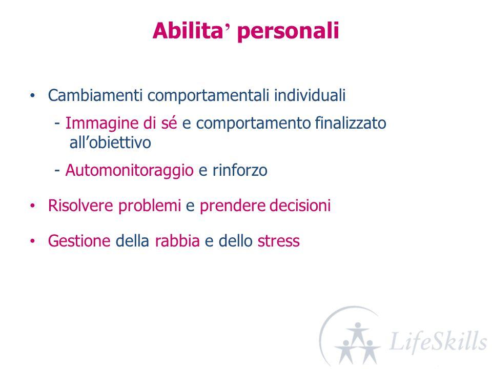 Abilita personali Cambiamenti comportamentali individuali - Immagine di sé e comportamento finalizzato allobiettivo - Automonitoraggio e rinforzo Riso