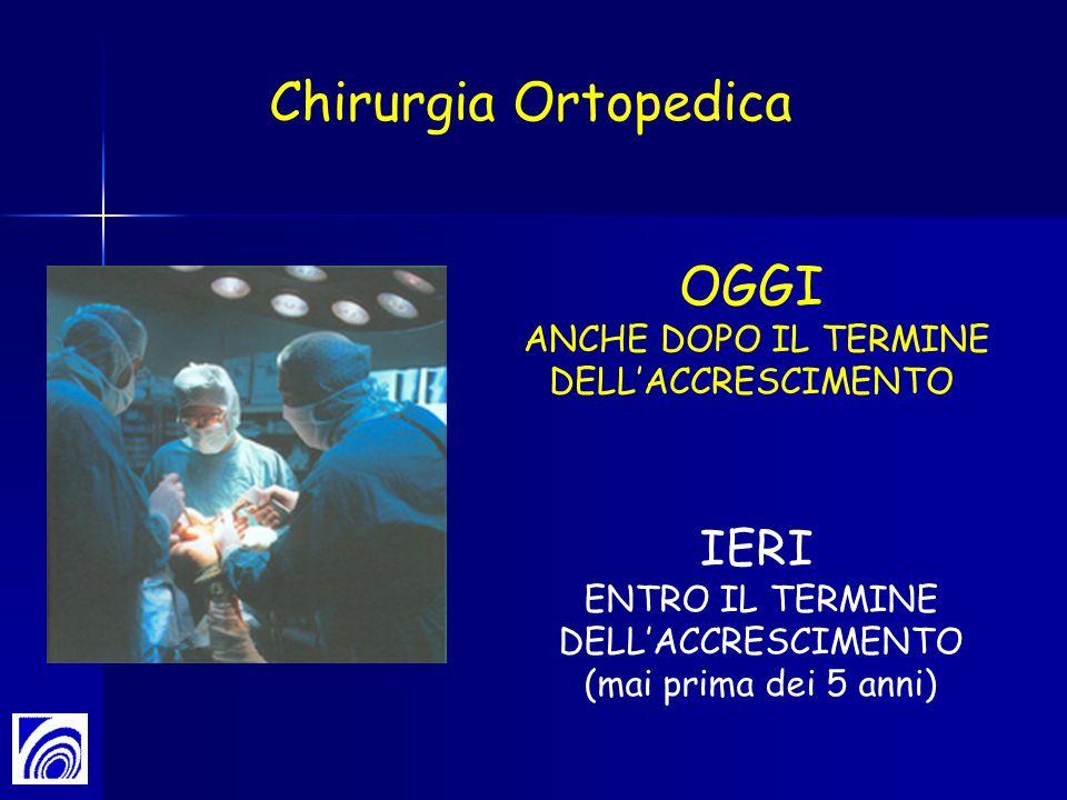 IERI ENTRO IL TERMINE DELLACCRESCIMENTO (mai prima dei 5 anni) OGGI ANCHE DOPO IL TERMINE DELLACCRESCIMENTO Chirurgia Ortopedica