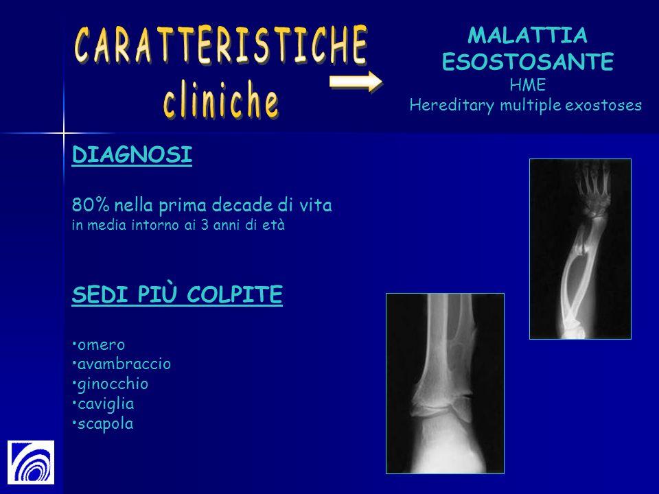 DIAGNOSI 80% nella prima decade di vita in media intorno ai 3 anni di età SEDI PIÙ COLPITE omero avambraccio ginocchio caviglia scapola MALATTIA ESOST