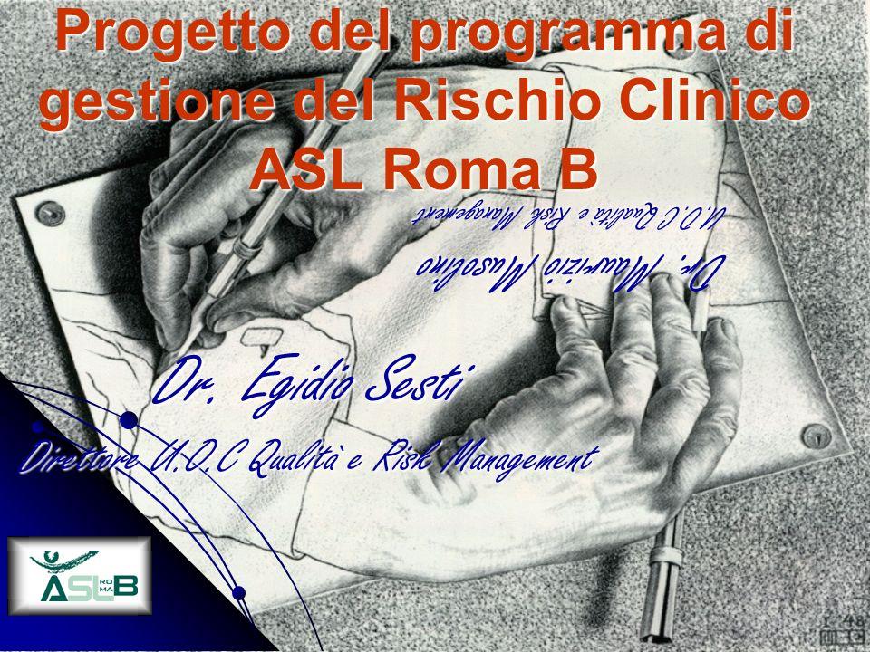 Progetto del programma di gestione del Rischio Clinico ASL Roma B Dr. Egidio Sesti Direttore U.O.C Qualità e Risk Management Dr. Maurizio Musolino U.O
