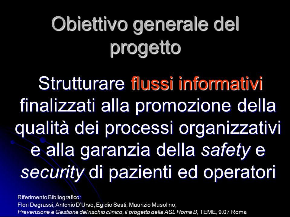 Obiettivo generale del progetto Strutturare flussi informativi finalizzati alla promozione della qualità dei processi organizzativi e alla garanzia de