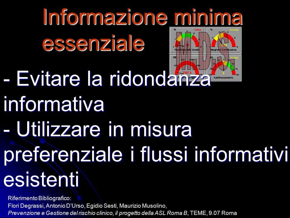 Informazione minima essenziale - Evitare la ridondanza informativa - Utilizzare in misura preferenziale i flussi informativi esistenti Riferimento Bib