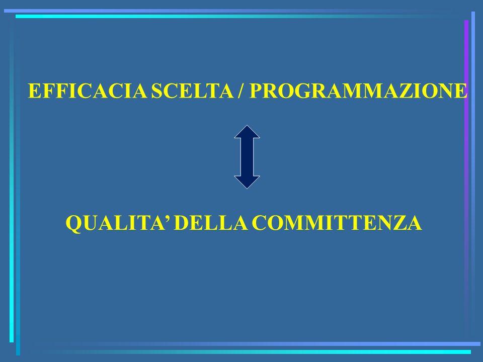 EFFICACIA SCELTA / PROGRAMMAZIONE QUALITA DELLA COMMITTENZA