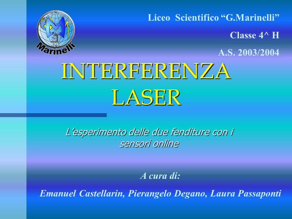 INTERFERENZA LASER Lesperimento delle due fenditure con i sensori online Liceo Scientifico G.Marinelli Classe 4^ H A.S. 2003/2004 A cura di: Emanuel C