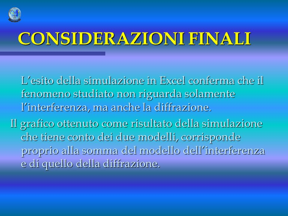 CONSIDERAZIONI FINALI Lesito della simulazione in Excel conferma che il fenomeno studiato non riguarda solamente linterferenza, ma anche la diffrazion