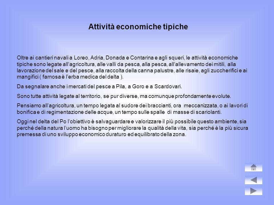 Attività economiche tipiche Oltre ai cantieri navali a Loreo, Adria, Donada e Contarina e agli squeri, le attività economiche tipiche sono legate alla