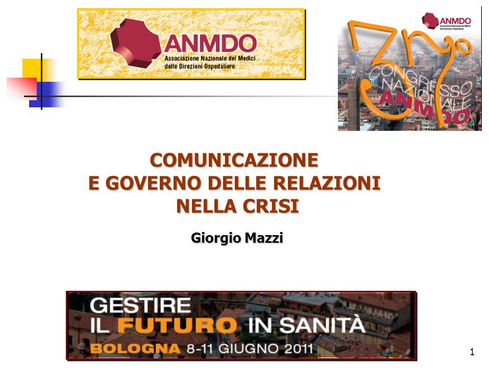 COMUNICAZIONE E GOVERNO DELLE RELAZIONI NELLA CRISI Bologna 8-11 giugno 1 COMUNICAZIONE E GOVERNO DELLE RELAZIONI NELLA CRISI Giorgio Mazzi