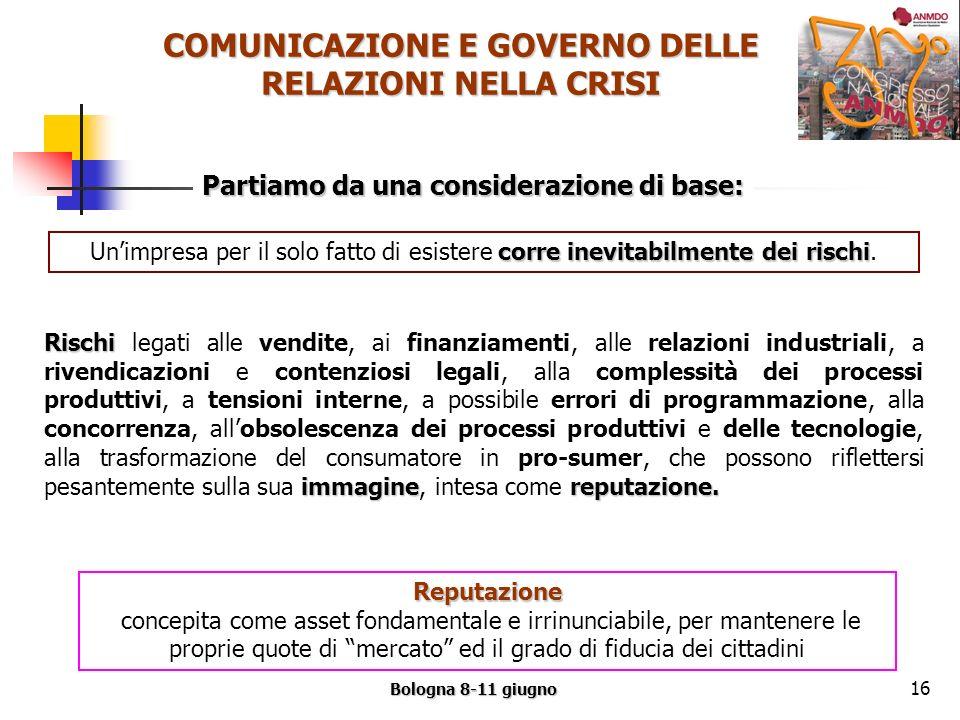 COMUNICAZIONE E GOVERNO DELLE RELAZIONI NELLA CRISI Bologna 8-11 giugno 16 Partiamo da una considerazione di base: corre inevitabilmente dei rischi Unimpresa per il solo fatto di esistere corre inevitabilmente dei rischi.