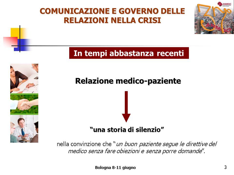 COMUNICAZIONE E GOVERNO DELLE RELAZIONI NELLA CRISI Bologna 8-11 giugno 3 nella convinzione che un buon paziente segue le direttive del medico senza fare obiezioni e senza porre domande.