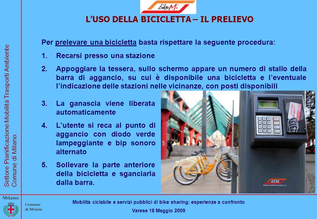 Mobilità ciclabile e servizi pubblici di bike sharing: esperienze a confronto Varese 18 Maggio 2009 Settore Pianificazione Mobilità Trasporti Ambiente Comune di Milano BikeMi LUSO DELLA BICICLETTA – IL PRELIEVO Per prelevare una bicicletta basta rispettare la seguente procedura: 1.Recarsi presso una stazione 2.Appoggiare la tessera, sullo schermo appare un numero di stallo della barra di aggancio, su cui è disponibile una bicicletta e leventuale lindicazione delle stazioni nelle vicinanze, con posti disponibili 3.La ganascia viene liberata automaticamente 4.Lutente si reca al punto di aggancio con diodo verde lampeggiante e bip sonoro alternato 5.Sollevare la parte anteriore della bicicletta e sganciarla dalla barra.