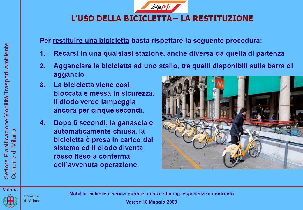 Mobilità ciclabile e servizi pubblici di bike sharing: esperienze a confronto Varese 18 Maggio 2009 Settore Pianificazione Mobilità Trasporti Ambiente Comune di Milano BikeMi LUSO DELLA BICICLETTA – LA RESTITUZIONE Per restituire una bicicletta basta rispettare la seguente procedura: 1.Recarsi in una qualsiasi stazione, anche diversa da quella di partenza 2.Agganciare la bicicletta ad uno stallo, tra quelli disponibili sulla barra di aggancio 3.La bicicletta viene così bloccata e messa in sicurezza.