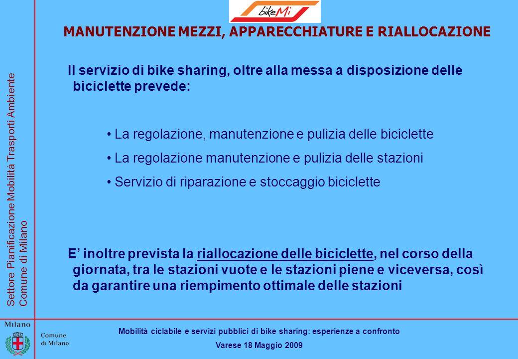 Mobilità ciclabile e servizi pubblici di bike sharing: esperienze a confronto Varese 18 Maggio 2009 Settore Pianificazione Mobilità Trasporti Ambiente Comune di Milano BikeMi MANUTENZIONE MEZZI, APPARECCHIATURE E RIALLOCAZIONE Il servizio di bike sharing, oltre alla messa a disposizione delle biciclette prevede: La regolazione, manutenzione e pulizia delle biciclette La regolazione manutenzione e pulizia delle stazioni Servizio di riparazione e stoccaggio biciclette E inoltre prevista la riallocazione delle biciclette, nel corso della giornata, tra le stazioni vuote e le stazioni piene e viceversa, così da garantire una riempimento ottimale delle stazioni