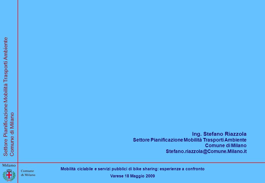 Mobilità ciclabile e servizi pubblici di bike sharing: esperienze a confronto Varese 18 Maggio 2009 Settore Pianificazione Mobilità Trasporti Ambiente Comune di Milano Ing.