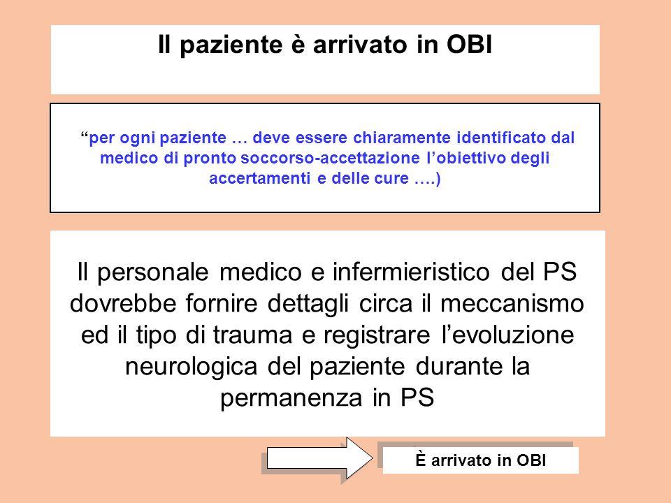 Il personale medico e infermieristico del PS dovrebbe fornire dettagli circa il meccanismo ed il tipo di trauma e registrare levoluzione neurologica d