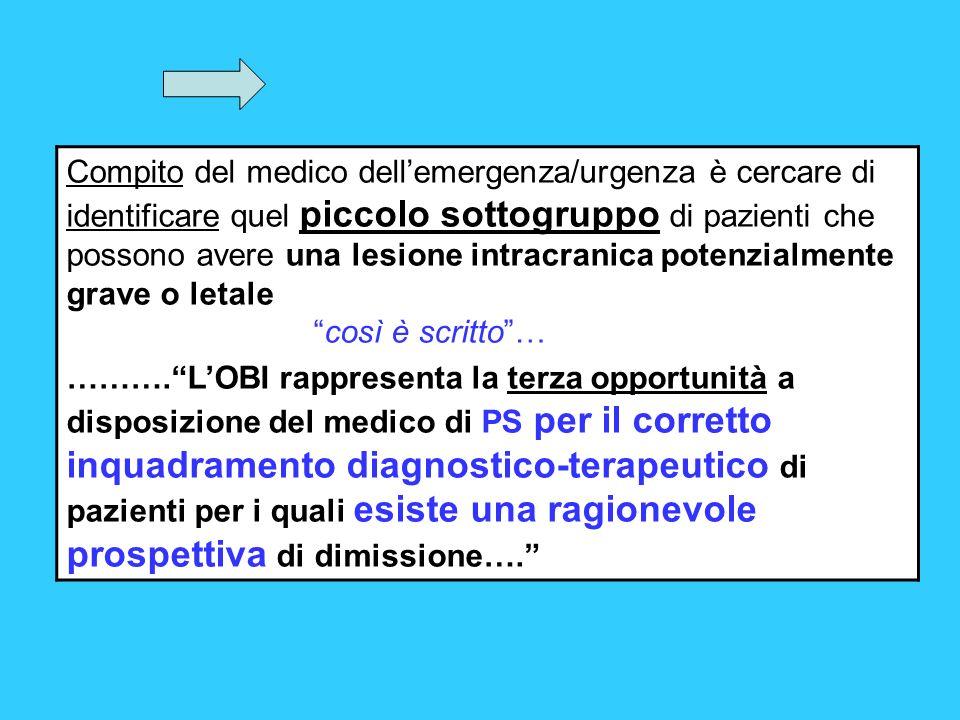 Compito del medico dellemergenza/urgenza è cercare di identificare quel piccolo sottogruppo di pazienti che possono avere una lesione intracranica pot