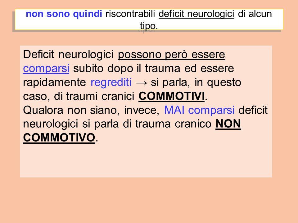 non sono quindi riscontrabili deficit neurologici di alcun tipo. Deficit neurologici possono però essere comparsi subito dopo il trauma ed essere rapi